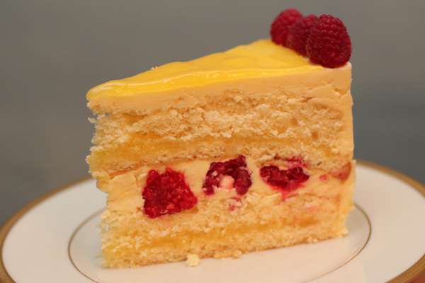 slice of lemon raspberry cake