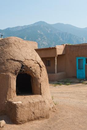 Adobe Oven / Horno, Pueblo and Mountains