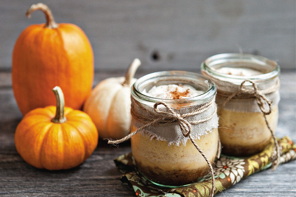 pumpkin cheesecake in jars