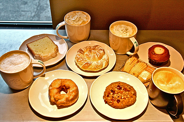 Starbucks Pumpkin Spice Latte and Bakery Items