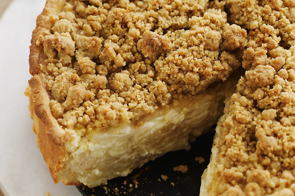 deep-dish sour cream-apple pie recipe with lemon-cardamom streusel