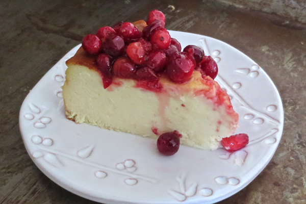Crustless Cheesecake with Cranberry-Maple Compote | Bakepedia