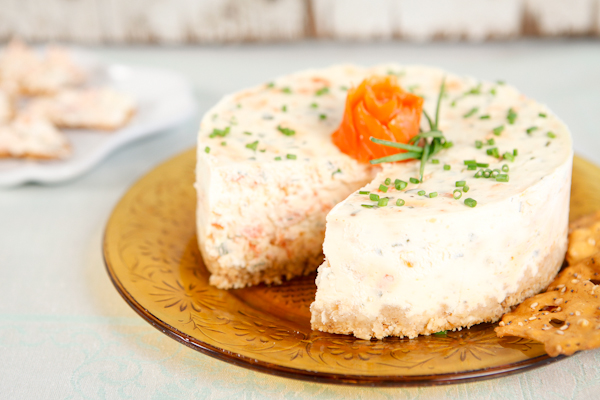 savory smoked salmon cheesecake with Pretzel Crisps crust