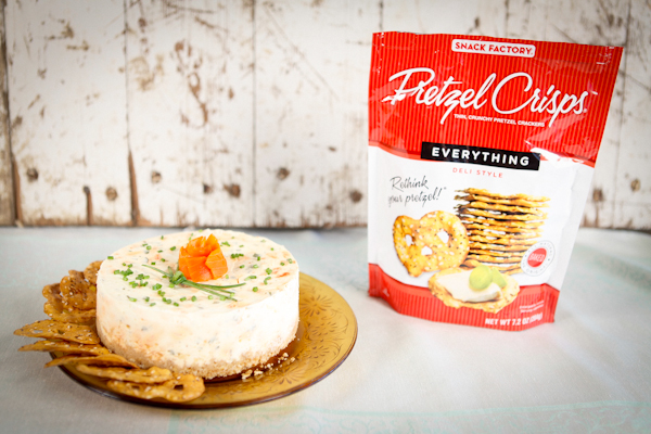 savory smoked salmon cheesecake with Pretzel Crisps crust