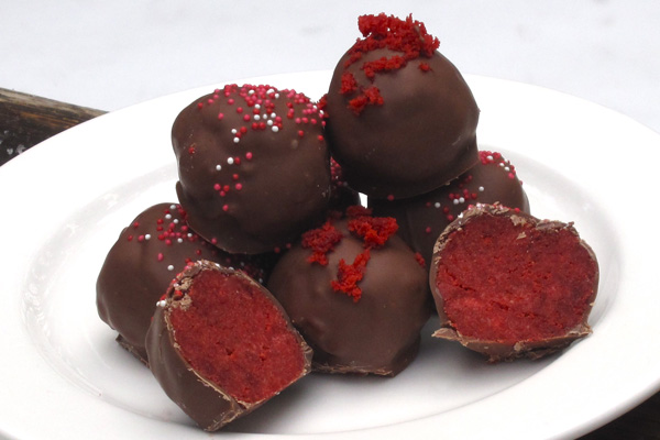 My White-Chocolate Red Velvet Cake Balls
