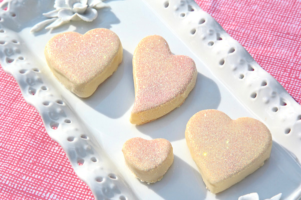 white chocolate lemon heart shaped cake balls