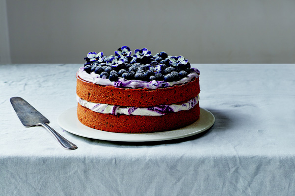 lemony hazelnut blueberry cake