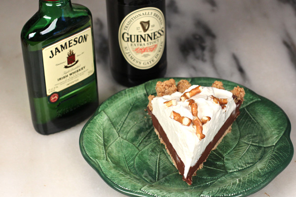 Chocolate Stout Pudding Pie with Jameson Whipped Cream and Pretzel Crust