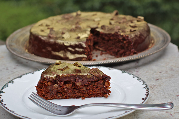 Mexican gold nugget brownie torte slice