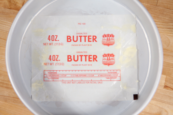 using butter wrappers in cake pans