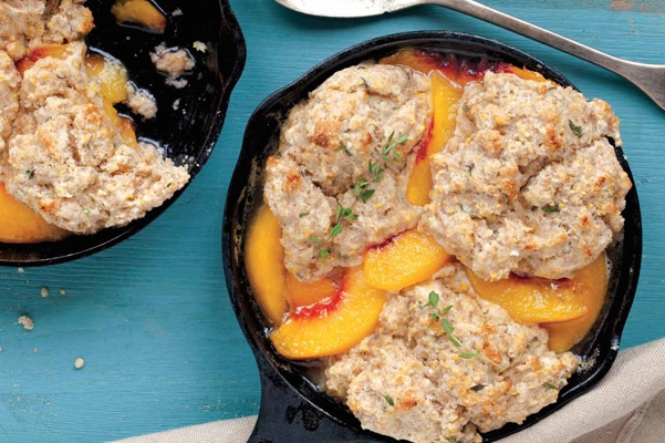 Peach Breakfast Cobbler with Cornmeal Thyme Biscuits_1