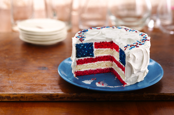 Red, White and Blue Layered Flag
