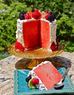 watermelon cake slice