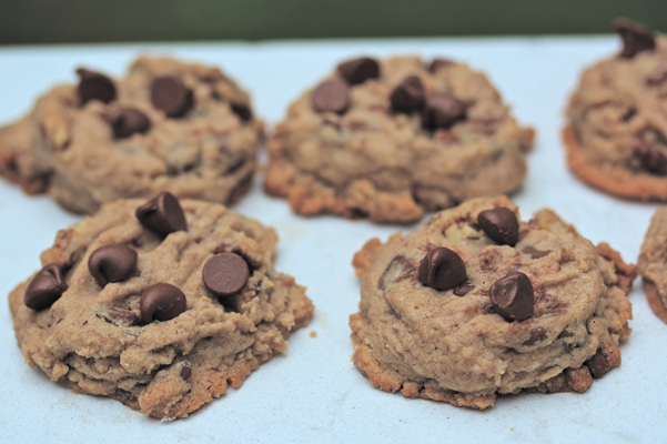 Browned Butter Bourbon Pecan Cookies with Milk Chocolate Chips