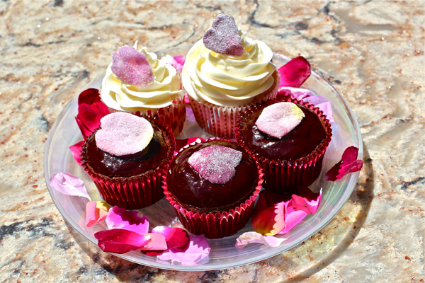 sugared petals on cupcakes