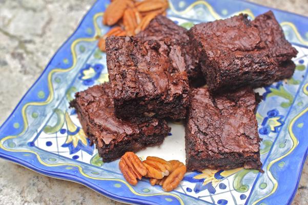 triple chocolate pecan flour brownies