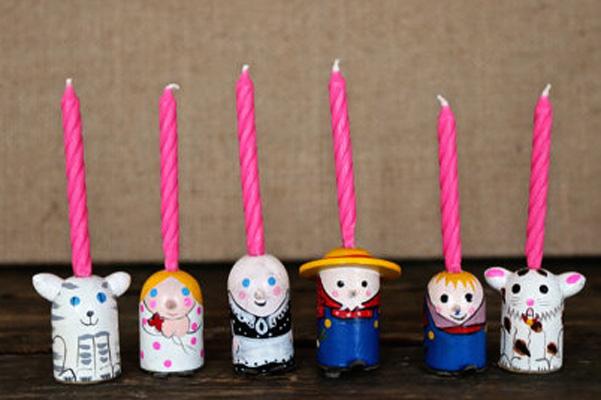 wooden farmer candles