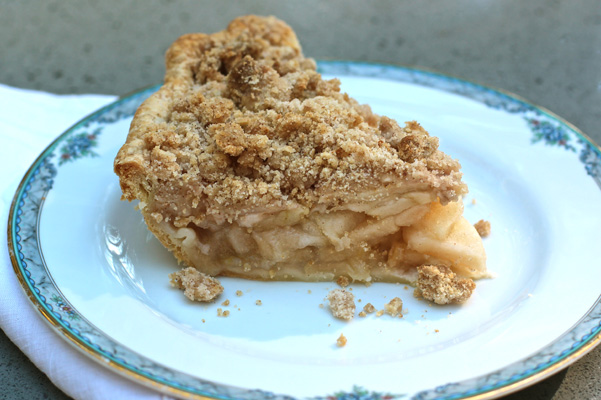 An Open Faced Apple Pie with a Buttery Crumb Topping