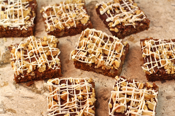 gingerbread blondies with walnuts and crystallized ginger and white chocolate