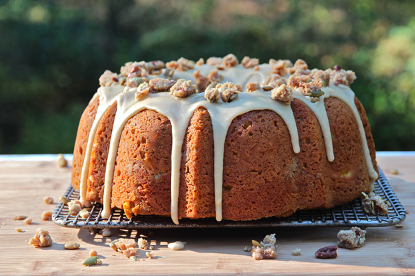 Pumpkin Streusel Bundt with Cream Cheese Ribbon