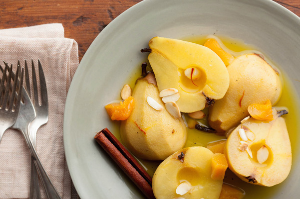 Veg- wine poached pears