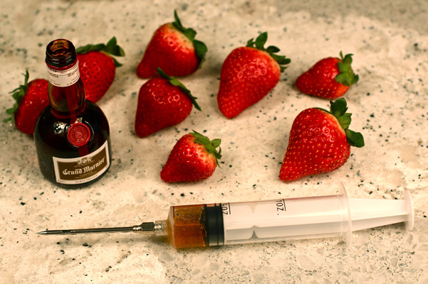 berries with syringe