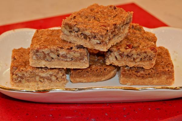 pecan bars on Cardigan red