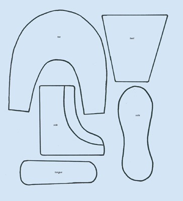 drawing of boot cake sections
