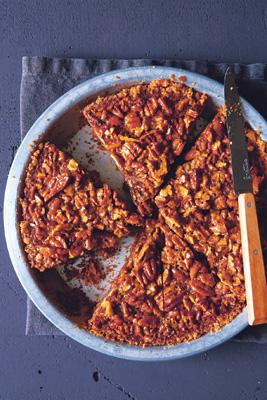 Salted Caramel Pecan Pie with Pretzel Crust Beauty A130127 Jamie Deen Cookbook 2013