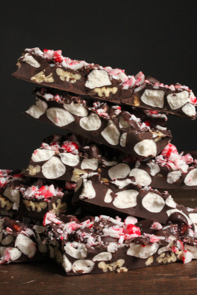 Peppermint Rocky Road Chocolate Bark vertical