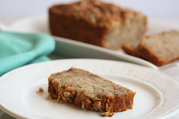 vegan gluten free banana bread slice